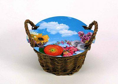 Augantis gėlių krepšys