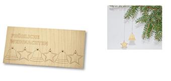 Medinis Kalėdinis atvirukas. Atvirukas 2in 1(atvirutė + žaisliukai dekoracijoms)